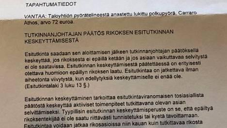 Rikosylikomisario Petri Eronen julkaisi kuvan poliisilta saamastaan kirjeestä, jonka mukaan hänen tekemänsä rikosilmoitus ei johda tutkintatoimiin.