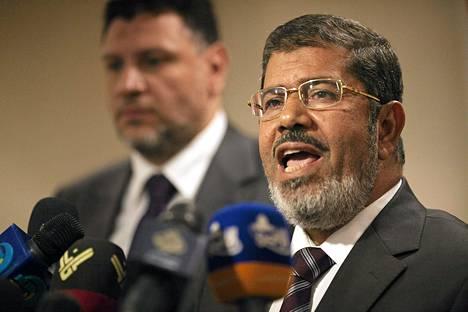 Mohammed Mursi puhui lehdistötilaisuudessa toukokuussa.