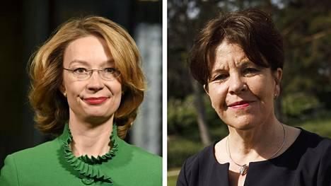 Eurooppaministeri Tytti Tuppurainen ja Ulkopoliittisen instituutin johtaja Teija Tiilikainen.