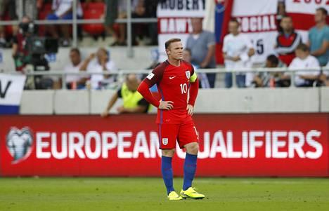 Wayne Rooney oli syyskuussa kehissä Englannin MM-karsinta-avauksessa Slovakiaa vastaan.