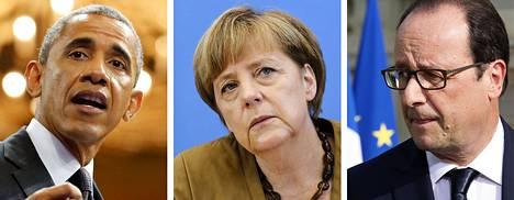Barack Obama, Angela Merkel ja Francois Hollande