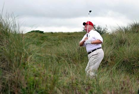 Vuonna 2012 Donald Trump löi palloa karheikossa Balmedien kentällä Skotlannissa.