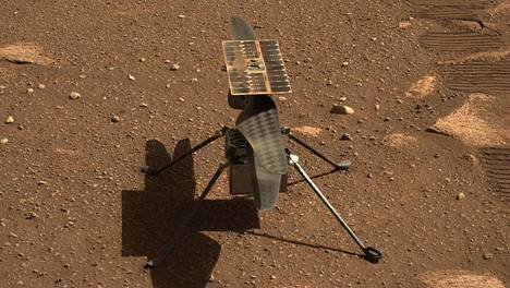 This NASA photo shows the Ingenuity Mars helicopter in a close-up taken by Mastcam-Z, a pair of zoomable cameras aboard the Perseverance rover. This image was taken on April 5, 2021, the 45th Martian day, or sol, of the mission. - NASA is targeting no earlier than Sunday, April 11, for Ingenuity Mars Helicopters first attempt at powered, controlled flight on another planet. A livestream confirming Ingenuitys first flight is targeted to begin around 3:30 a.m. EDT Monday, April 12. LEHTIKUVA / AFP Instructions: RESTRICTED TO EDITORIAL USE - MANDATORY CREDIT AFP PHOTO / NASA / JPL-Caltech / ASU - NO MARKETING - NO ADVERTISING CAMPAIGNS - DISTRIBUTED AS A SERVICE TO CLIENTS