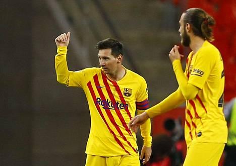 Barcelonan Lionel Messi juhli maalia Espanjan cupin finaalissa viime viikonloppuna.