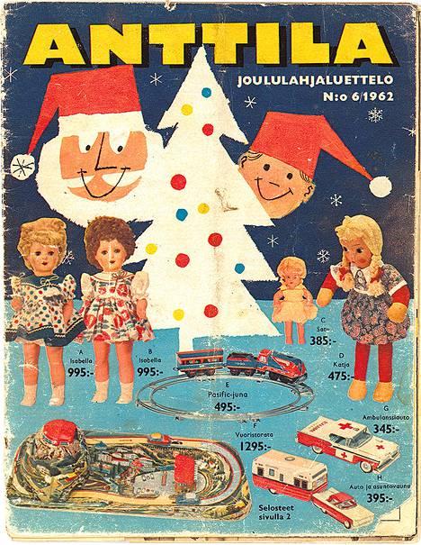 Anttilan joululahjaluettelossa vuodelta 1962 tarjottiin lapsille nukkeja, junaratoja ja autoja.