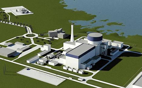Havainnekuva Fennovoiman Pyhäjoelle suunnittelemasta ydinvoimalasta.