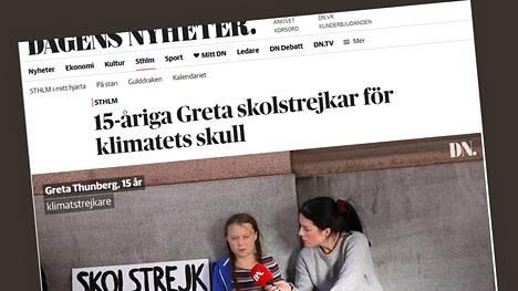 Muun muassa Dagens Nyheter kertoi ruotsalaistytön koululakosta nettisivuillaan.