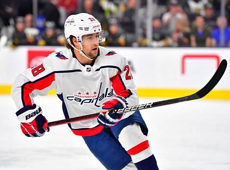 Washington Capitalsin Brendan Leipsic jäällä Las Vegasissa helmikuussa. Ura NHL:ssä näyttää päättyneen.