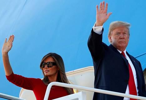 Donald ja Melania Trump nousivat lentokoneeseen Marylandissa Yhdysvalloissa ja lähtivät matkaan kohti Brysseliä, jossa järjestetään keskiviikkona Naton huippukokous.