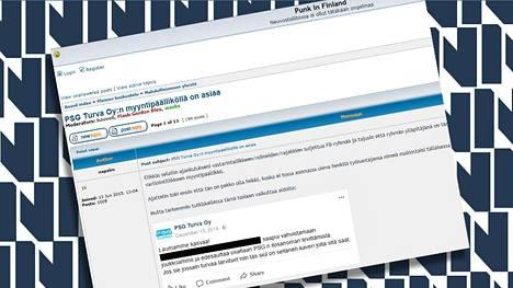 Vartiointiyrityksen päällikön nettikirjoittelu tuli esiin Punk in Finland -foorumilla.