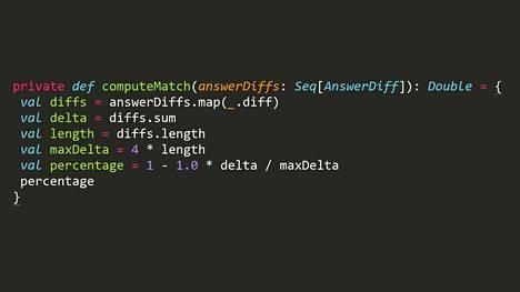 HS:n vaalikoneen puoluesuosittelualgoritmi scala-ohjelmoitikielellä kirjoitettuna.