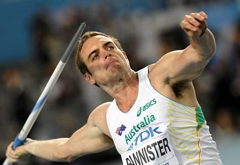 Australialaisen keihäänheittäjän Jarrod Bannisterin ennätys on 89, 02.