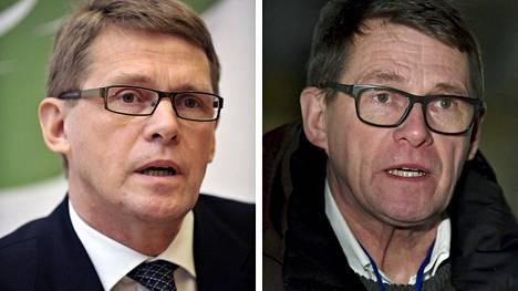Matti Vanhanen vuonna 2009 (vas.) ja vuonna 2021.