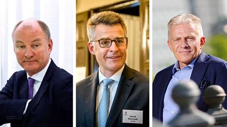 Cargotecin toimitusjohtaja Mika Vehviläinen, Koneen toimitusjohtaja Henrik Ehrnrooth ja Wärtsilän toimitusjohtaja Jaakko Eskola