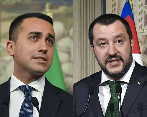 Italian hallituksen päättivät muodostaa Viiden tähden liike ja oikeistolainen Lega. Viiden tähden liikettä johtaa Luigi Di Maio (vasemmalla) ja Legaa Matteo Salvini.