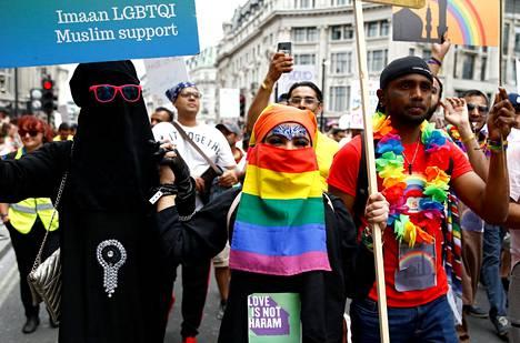 Viime heinäkuussa järjestettyyn Lontoon pridemarssiin osallistui myös muslimeja.