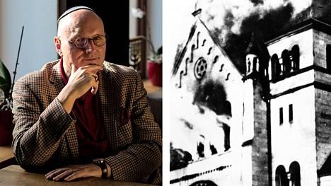 Samana iltana, kun äärioikeisto viime elokuun lopussa lähti Chemnitzissä kadulle, uusnatsit yrittivät hyökätä Uwe Dziuballan juutalaiseen ravintolaan. Chemnitzin pieni juutalaisyhteisö pysähtyy muistamaan 80 vuoden takaista kristalliyötä, jolloin natsit polttivat ja tuhosivat synagogia ja juutalaisten liikehuoneistoja. Kuvassa Baden-Badenin synagoga liekeissä marraskuun 9. ja 10. päivän välisenä yönä vuonna 1938.