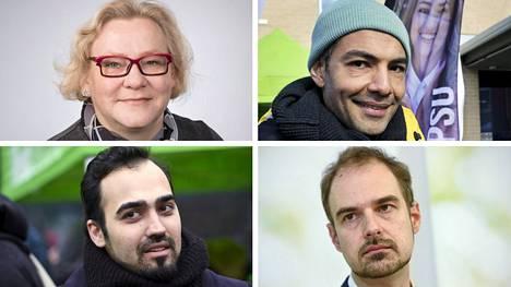 Sdp:n Lea Väänänen ja Hussein al-Taee (ylhäällä) sekä vihreiden Ozan Yanar ja Lasse Miettinen.