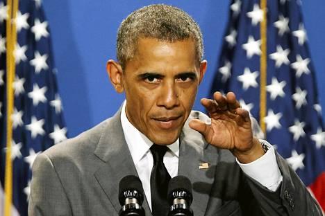 Yhdysvaltain presidentti Barack Obama vetosi palkallisten äitiyslomien puolesta Washingtonissa maanantaina.