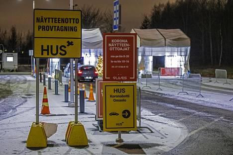 Koronaviruksen testauspiste Vantaan Koivukylässä joulukuun lopussa.