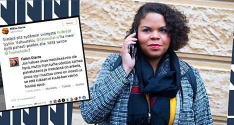 Vihreiden Helsingin kaupunginvaltuutettu Fatim Diarra kirjoitti Facebook-sivuillaan kommentin, josta otetun kuvakaappauksen keskustan kansanedustaja Mikko Kärnä julkaisi Twitter-tilillään.