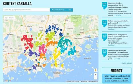 Hekan vuokra-asunnoissa asuu 87 000 asukasta. Kuvakaappauksessa näkyvät kohteet kartalla.