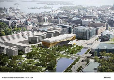 Keskustakirjasto nousee parhaillaan Töölönlahdelle. Havainnekuva tulevasta.