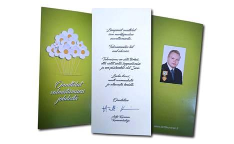 Antti Kurvisen ylioppilaille lähettämä kortti.