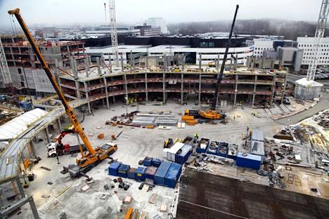 Tampereen areenan rakennustyömaa tammikuussa.