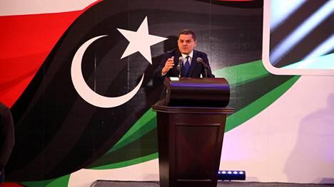 Libyan vasta valittu väliaikainen pääministeri Abdul Hamid Dbeibah pääkaupungissa Tripolissa helmikuussa.