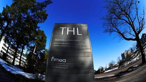 Terveyden ja hyvinvoinnin laitoksen THL:n kyltti.