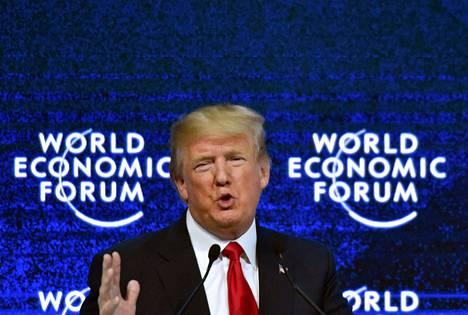 Kapitalismista keskustellaan tällä viikolla maailman talousfoorumissa Davosissa. Yhdysvaltain presidentti Donald Trump on yksi kokouksen osallistujista. Kuva on vuodelta 2018.