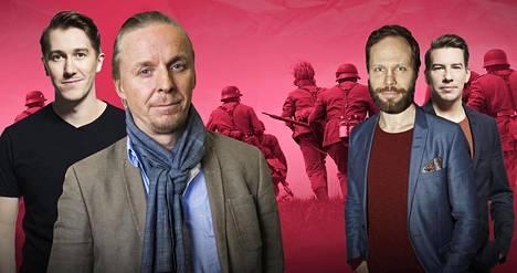 Uusimmassa Tuntematon sotilas -elokuvassa näyttelevät muun muassa Jussi Vatanen (vas.), Eero Aho, Juho Milonoff ja Aku Hirviniemi.