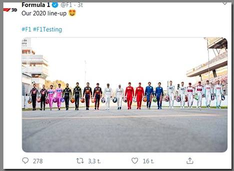 Kuvakaappaus ryhmäkuvasta Formul 1 -twittertililtä.