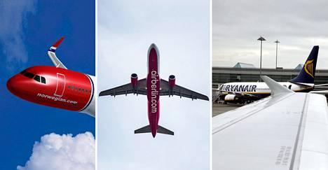 Suomalaisille tutuimmat halpalentoyhtiöt ovat Norwegian, Air Berlin ja Ryanair.
