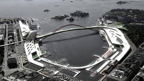 Yhdeksän vuotta sitten järjestetyssä avoimessa suunnittelukilpailussa ehdotettiin siltaa Katajanokalta Eteläsatamaan.