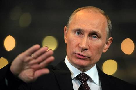 Venäjän pääministeri Vladimir Putin puhui lehdistölle Moskovassa torstaina.
