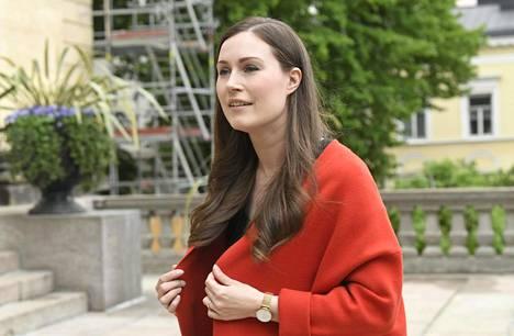 Pääministeri Sanna Marin saapui hallituksen neuvotteluun Säätytalolle tiistaina.