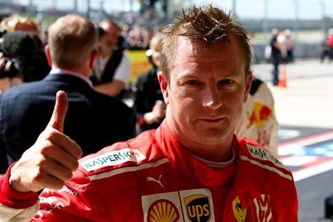 Kimi Räikkönen juhli viime sunnuntaina Yhdysvaltojen F1-osakilpailun voittoa.