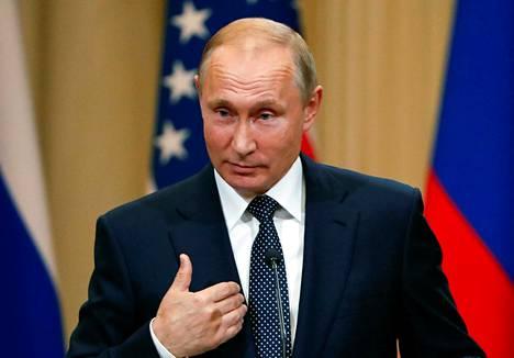 Venäjän presidentti Vladimir Putin tiedotustilaisuudessa Helsingissä 16. heinäkuuta.