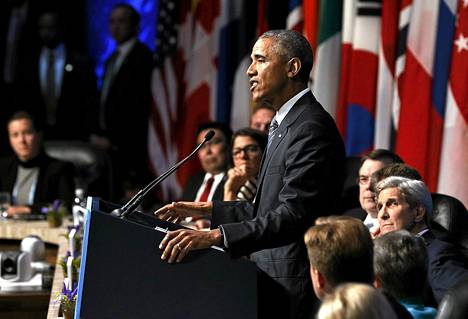Yhdysvaltojen presidentti Barack Obama vetosi ilmastosopimuksen puolesta.