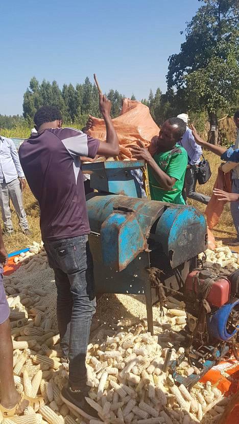 Robitin kylän ainoa kone on vanha meluisa maissipuimuri.