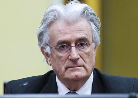 Bosnian sodan serbikomentaja Radovan Karadžic istui oikeudenkäynnissä Haagissa heinäkuussa 2013.