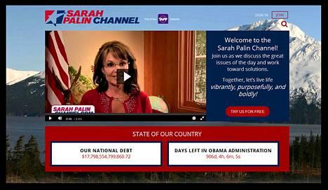 Kuvakaappaus Sarah Palin Channel -sivulta.