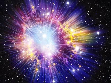 Taiteilijan näkemys alkuräjähdyksestä.