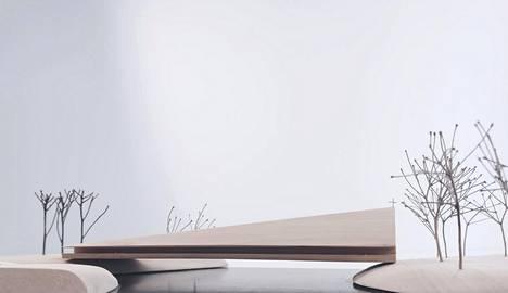 AOR tuli jaetulle kolmannelle sijalle Ylivieskan uuden kirkon suunnittelukilpailussa. AOR olisi sijoittanut puisen kirkon sillaksi joen ylle, mikä oli varsin radikaali idea. Havainnekuva.