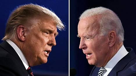 Presidentti Donald Trumpin (vasemmalla) uudelleenvalinta innostaisi markkinoita, mutta pitkällä aikavälillä Joe Bidenin vaalivoitto hyödyttäisi Suomea, arvioi Nordean pääekonomisti Tuuli Koivu.