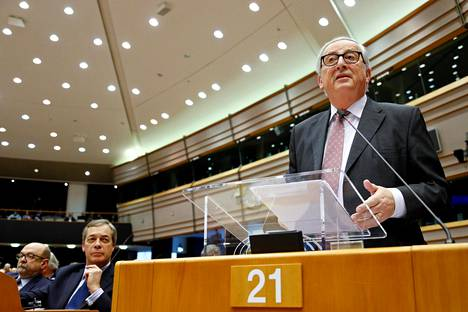 EU:n komission puheenjohtaja Jean-Claude Juncker EU-parlamentissa tammikuun lopussa.