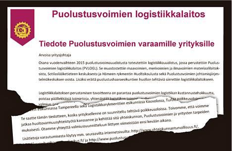 Puolustusvoimien yrityksille lähettämän kirjeen on allekirjoittanut Puolustusvoimien logistiikkalaitoksen johtaja, kenraalimajuri Timo Rotonen.