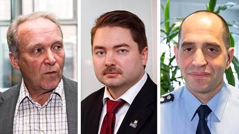 Kansanedustaja Teuvo Hakkarainen, kansanedustaja Ville Vähämäki ja ylikomisario Dennis Pasterstein.